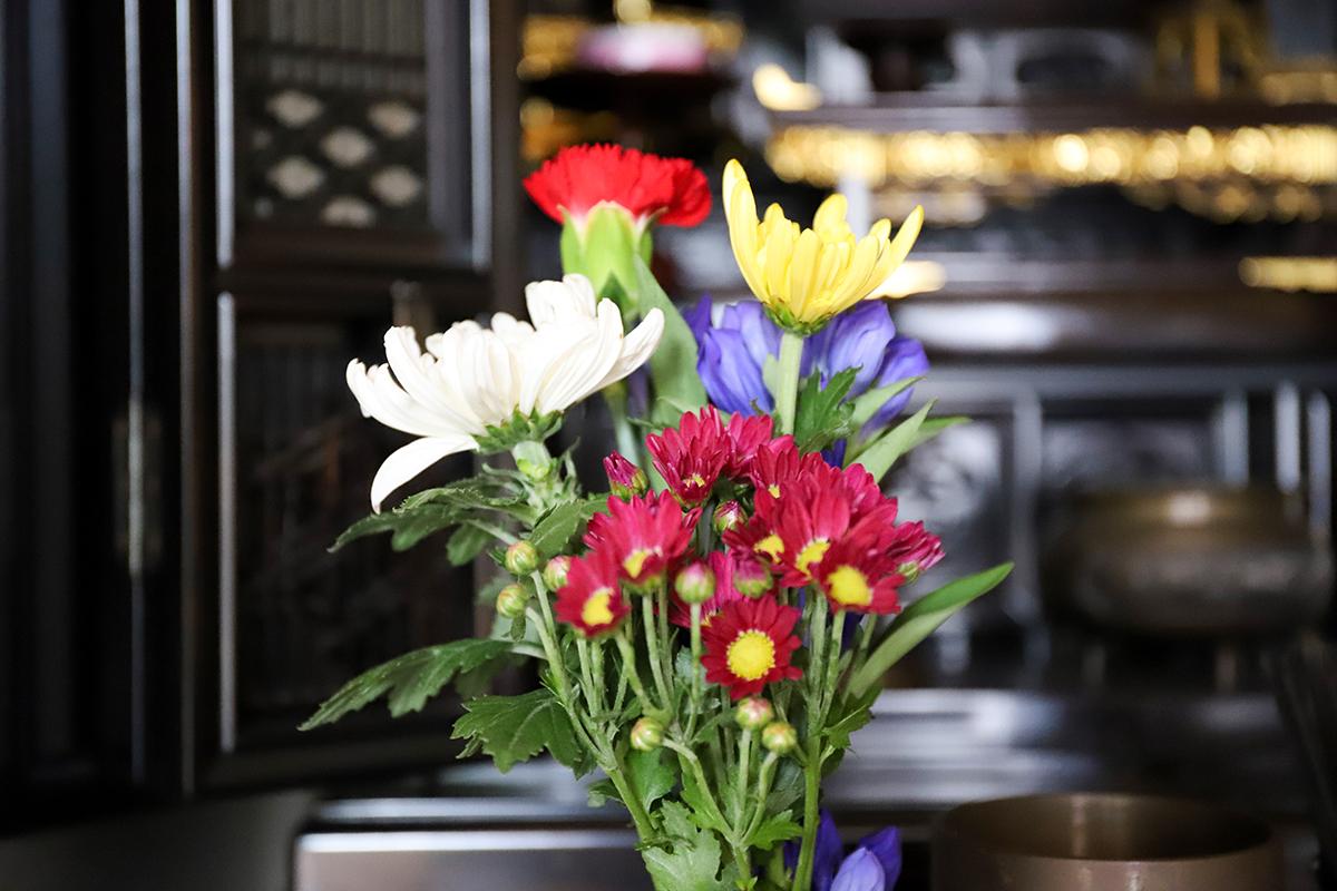仏壇に花をお供えする時には、花の色や種類、本数に気を付ける必要があります。白い花を基調として3色または5色におさめ、長持ちする花を奇数本で束ね、左右に生けるために2束用意しましょう。